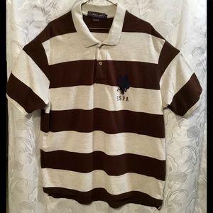 US Polo Assn. Tan Brown Striped Polo